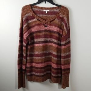 Maurices Brown Striped Sweater Size Large